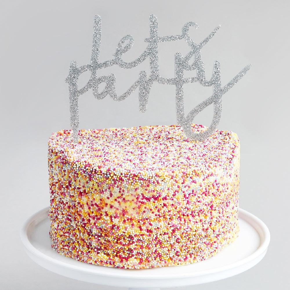 Silver 'Let's Party' Acrylic Cake Topper