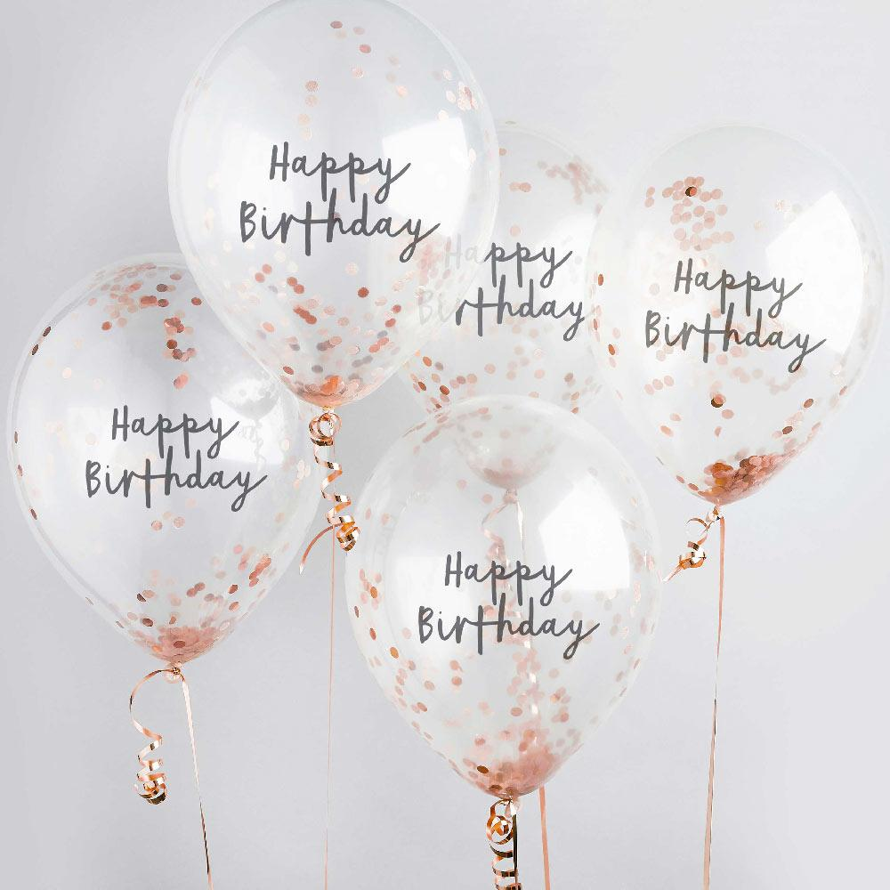 Rose Gold Happy Birthday Confetti Balloon (x5)