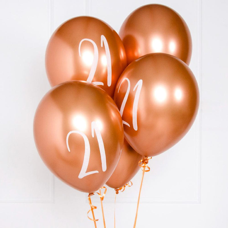 Rose Gold Number 21 Balloons (x5)