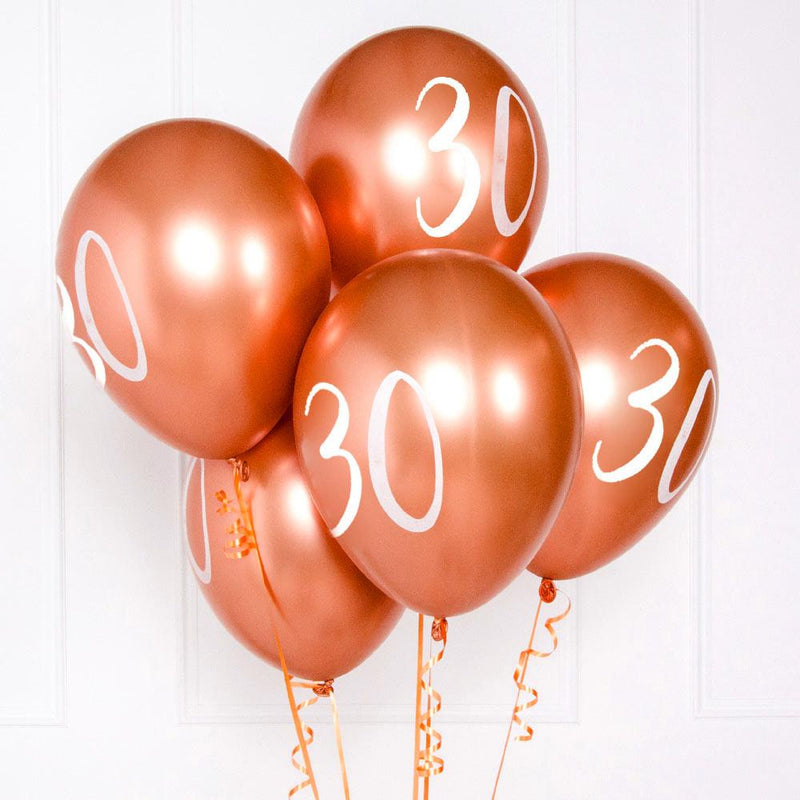 Rose Gold Number 30 Balloons (x5)