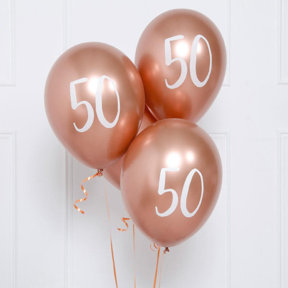 Rose Gold Number 50 Balloons (x5)