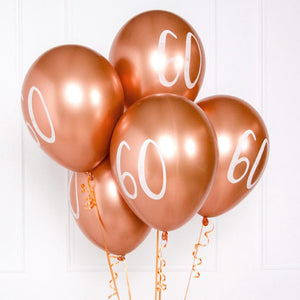 Rose Gold Number 60 Balloons (x5)