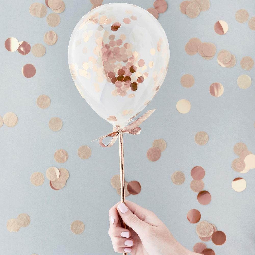 Rose Gold Mini Confetti Balloons Wands (x5)