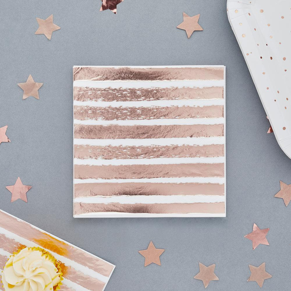 Rose Gold Striped Napkins (x20)