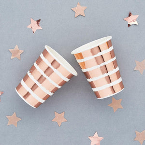 Rose Gold Striped Paper Cups (x10)