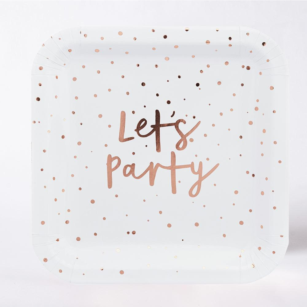 Rose Gold 'Let's Party' Paper Plates (x10)