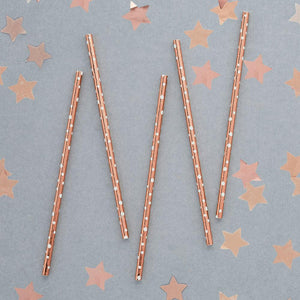 Rose Gold Dot Paper Straws (x20)