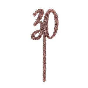 Rose Gold Acrylic '30' Cake Topper