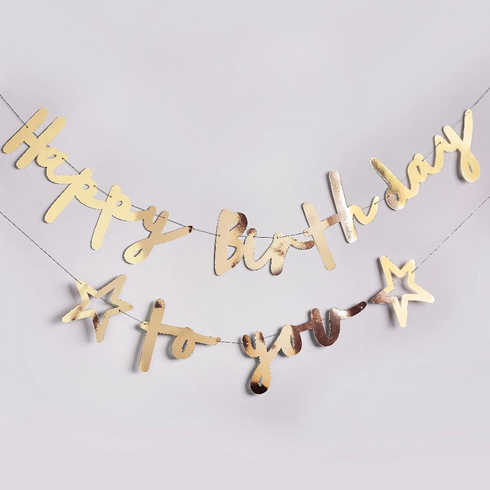 Gold Happy Birthday To You Banner - Double Layered