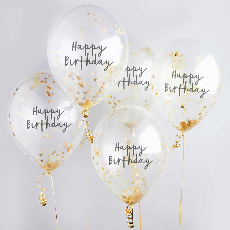 Gold Happy Birthday Confetti Balloon (x5)