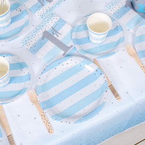 Blue & Silver Celebration 1st Birthday Table Set (x8)