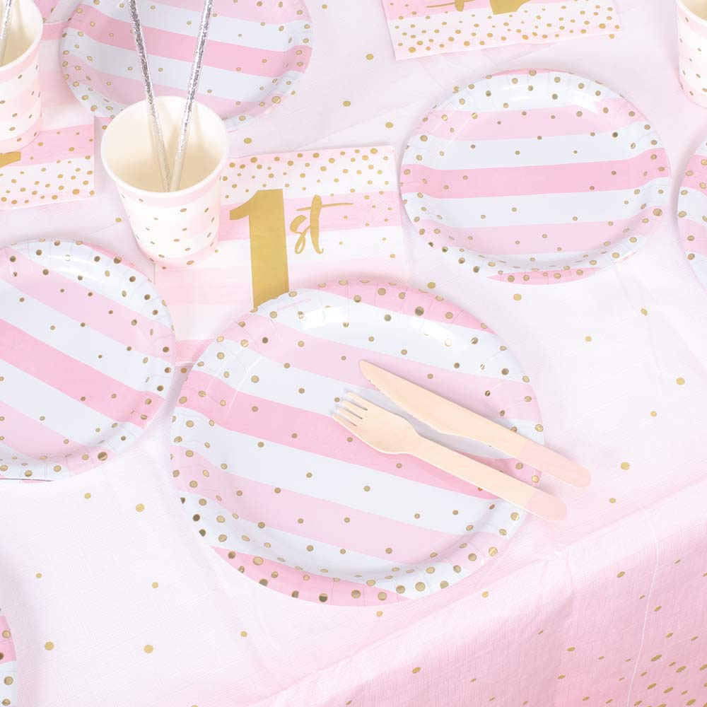 Pink & Gold Celebration 1st Birthday Table Set (x8)