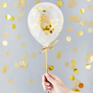 Gold Mini Confetti Balloons Wands (x5)