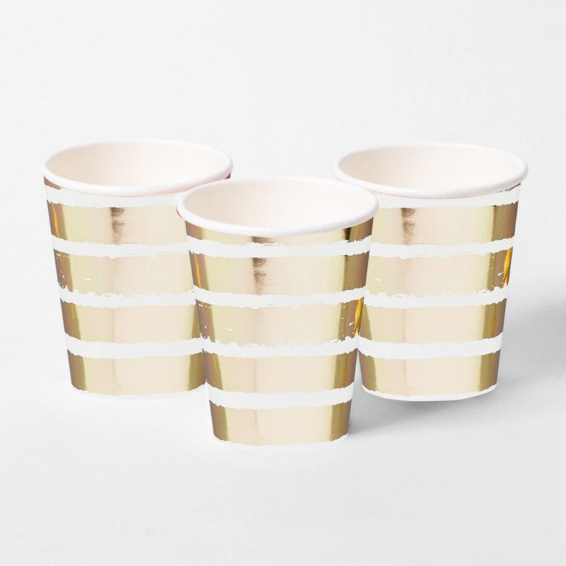 Gold Striped Paper Cups (x10)