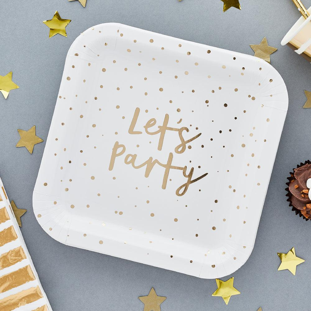 Gold 'Let's Party' Paper Plates (x10)