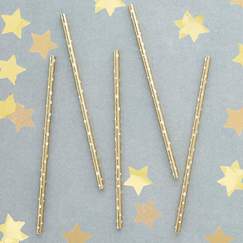 Gold Dot Paper Straws (x20)