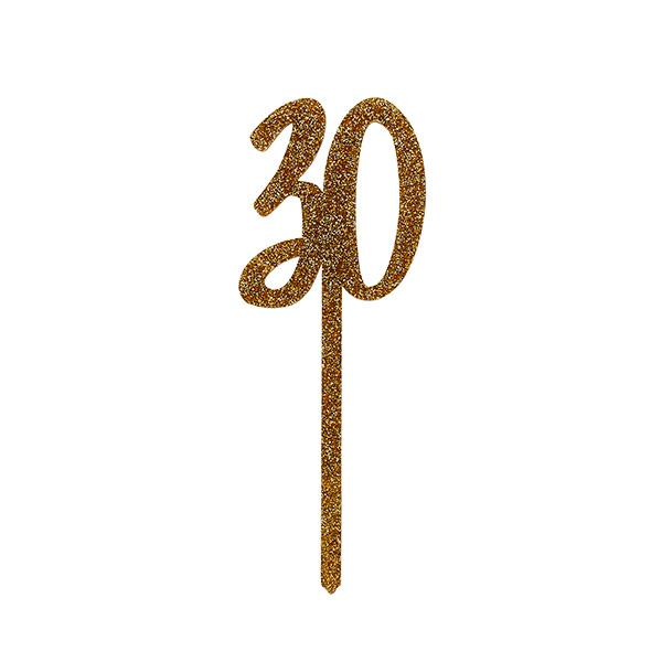 Gold Acrylic '30' Cake Topper