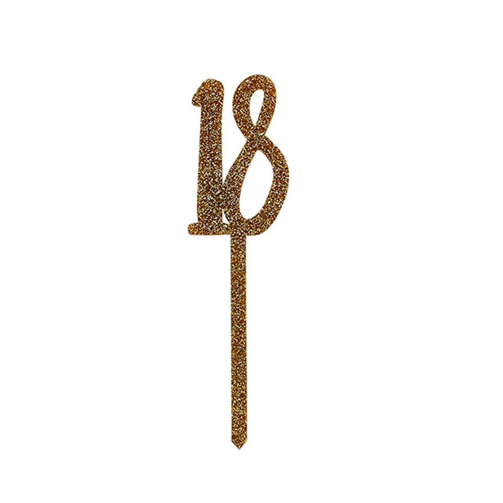 Gold Acrylic '18' Cake Topper