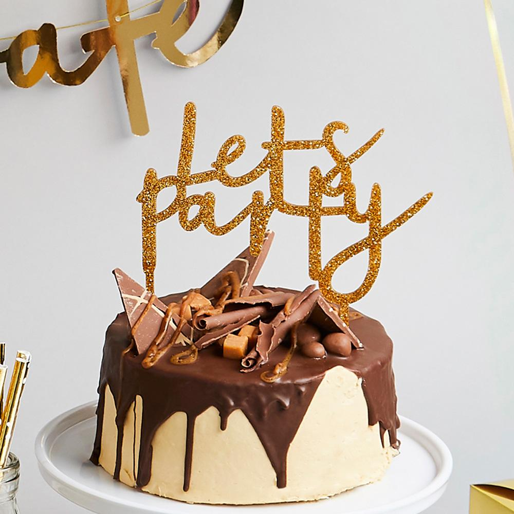 Gold 'Let's Party' Acrylic Cake Topper