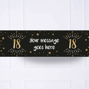 Black & Gold 18th Personalised Party Banner