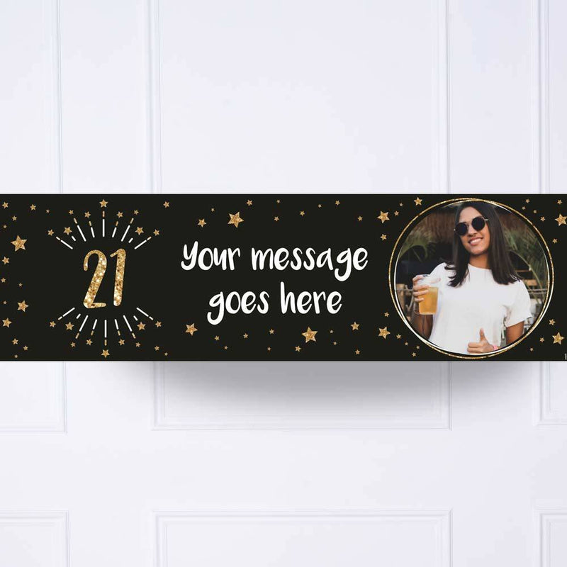 Black & Gold 21st Birthday Personalised Party Banner