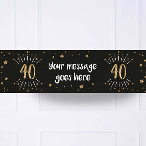 Black & Gold 40th Birthday Personalised Party Banner