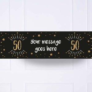 Black & Gold 50th Birthday Personalised Party Banner