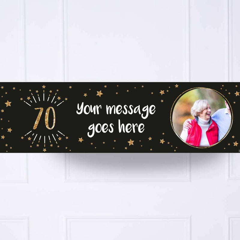Black & Gold 70th Birthday Personalised Party Banner