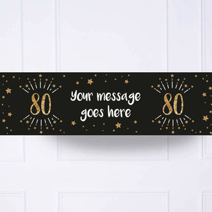 Black & Gold 80th Birthday Personalised Party Banner