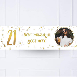 White & Gold 21st Personalised Party Banner