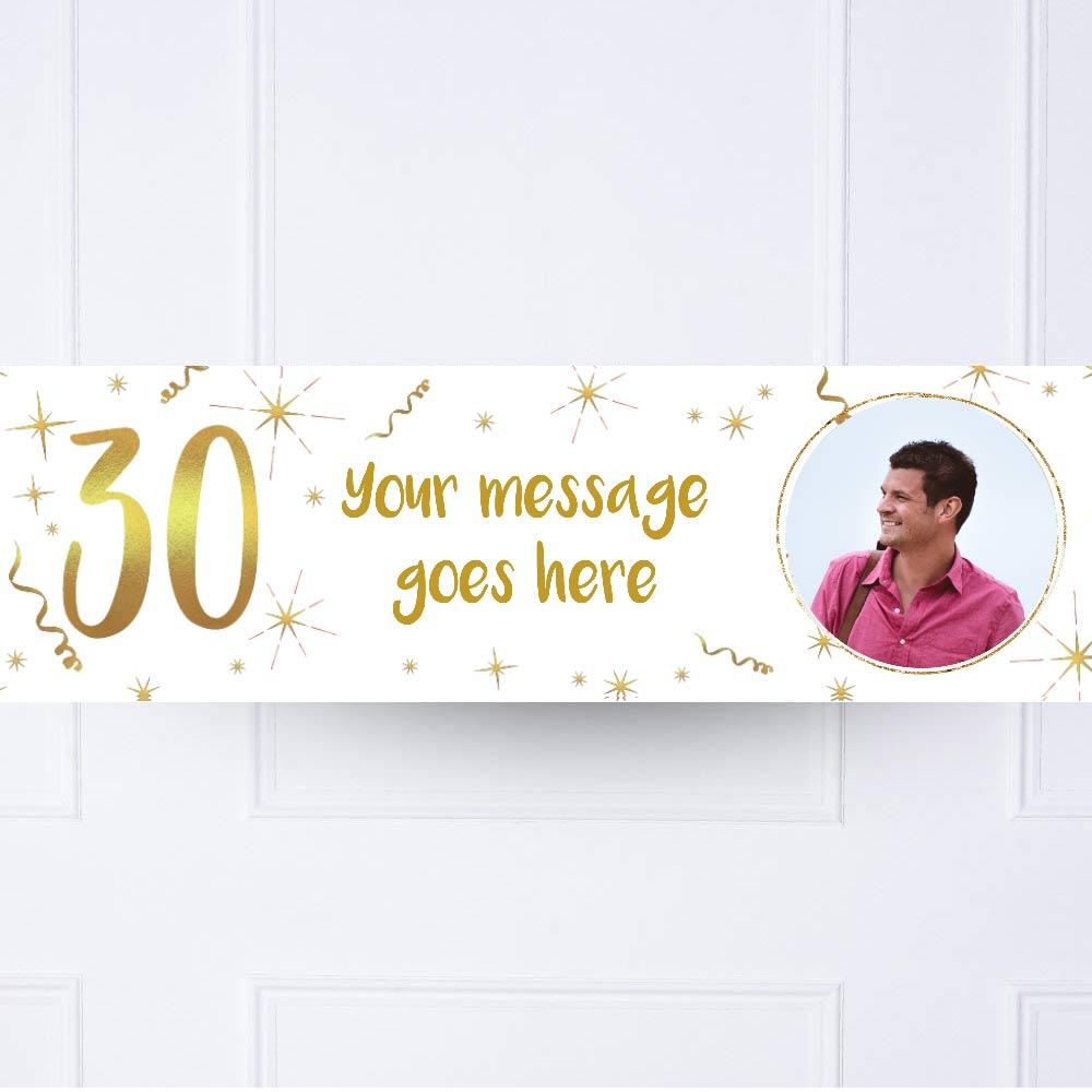 White & Gold 30th Personalised Party Banner