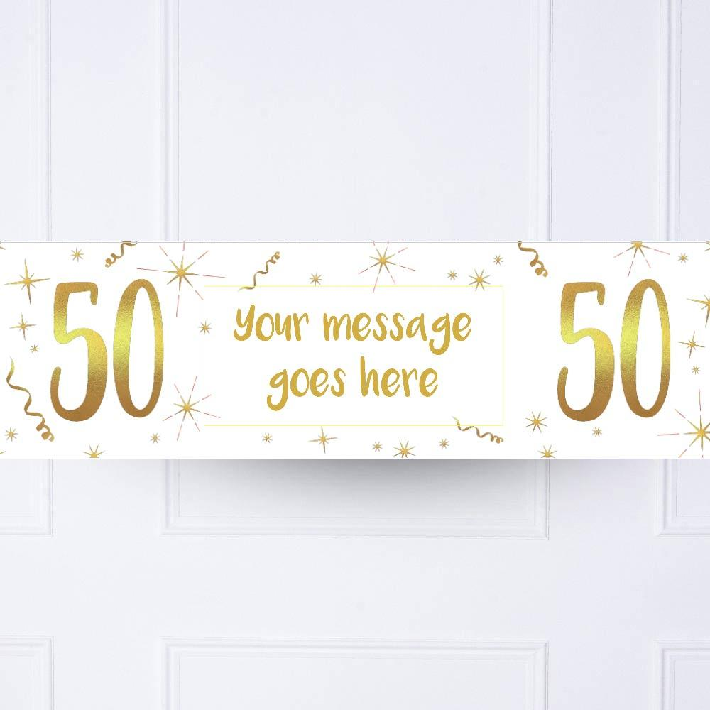 White & Gold 50th Personalised Party Banner