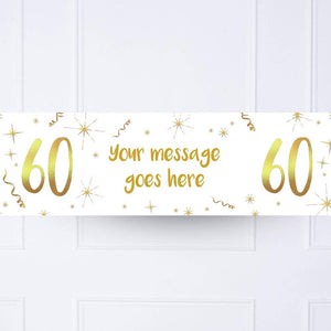 White & Gold 60th Personalised Party Banner