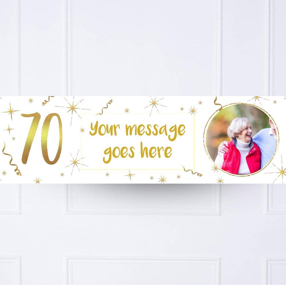 White & Gold 70th Personalised Party Banner