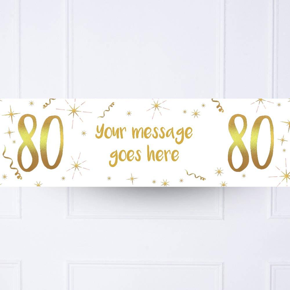 White & Gold 80th Personalised Party Banner
