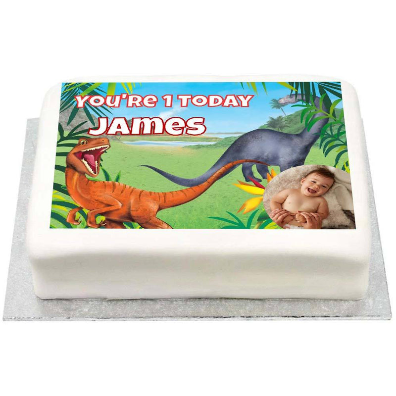 Personalised Photo Cake - Dino Roar 1st Birthday