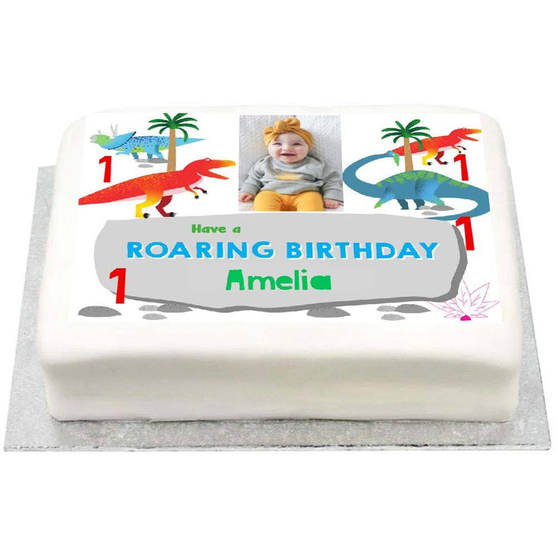Peachy Personalised Photo Cake Party Dino Baby 1St Birthday Cake Personalised Birthday Cards Bromeletsinfo