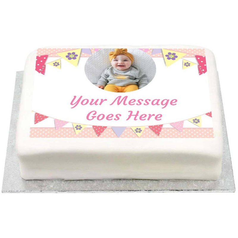 Personalised Photo Cake - Bunting Pink 1st Birthday