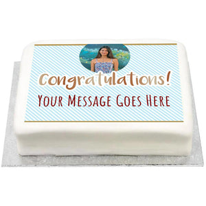 Personalised Photo Cake - Blue Pastel Congrats