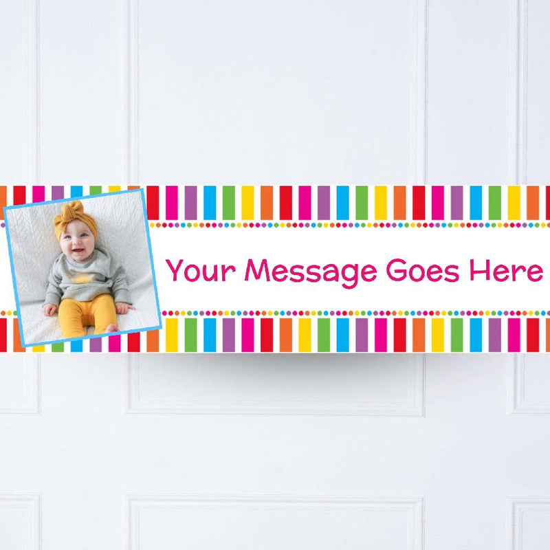 Rainbow 1st Birthday Personalised Party Banner