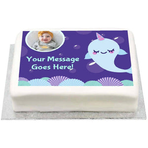Personalised Photo Cake - Narwhal 1st Birthday