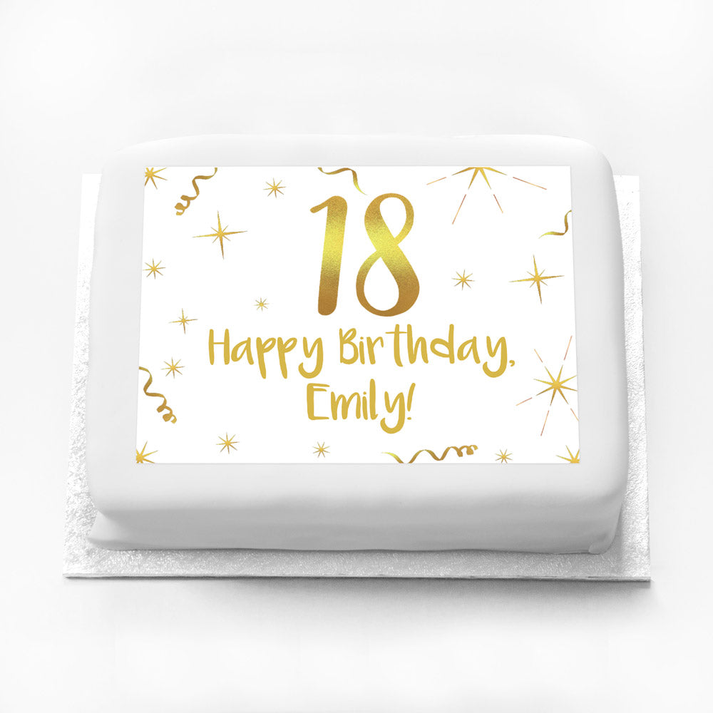 Personalised Photo Cake - White & Gold 18th Birthday
