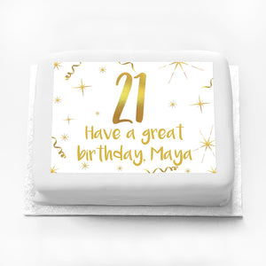 Personalised Photo Cake - White & Gold 21st Birthday