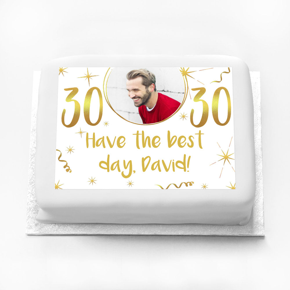 Personalised Photo Cake - White & Gold 30th Birthday