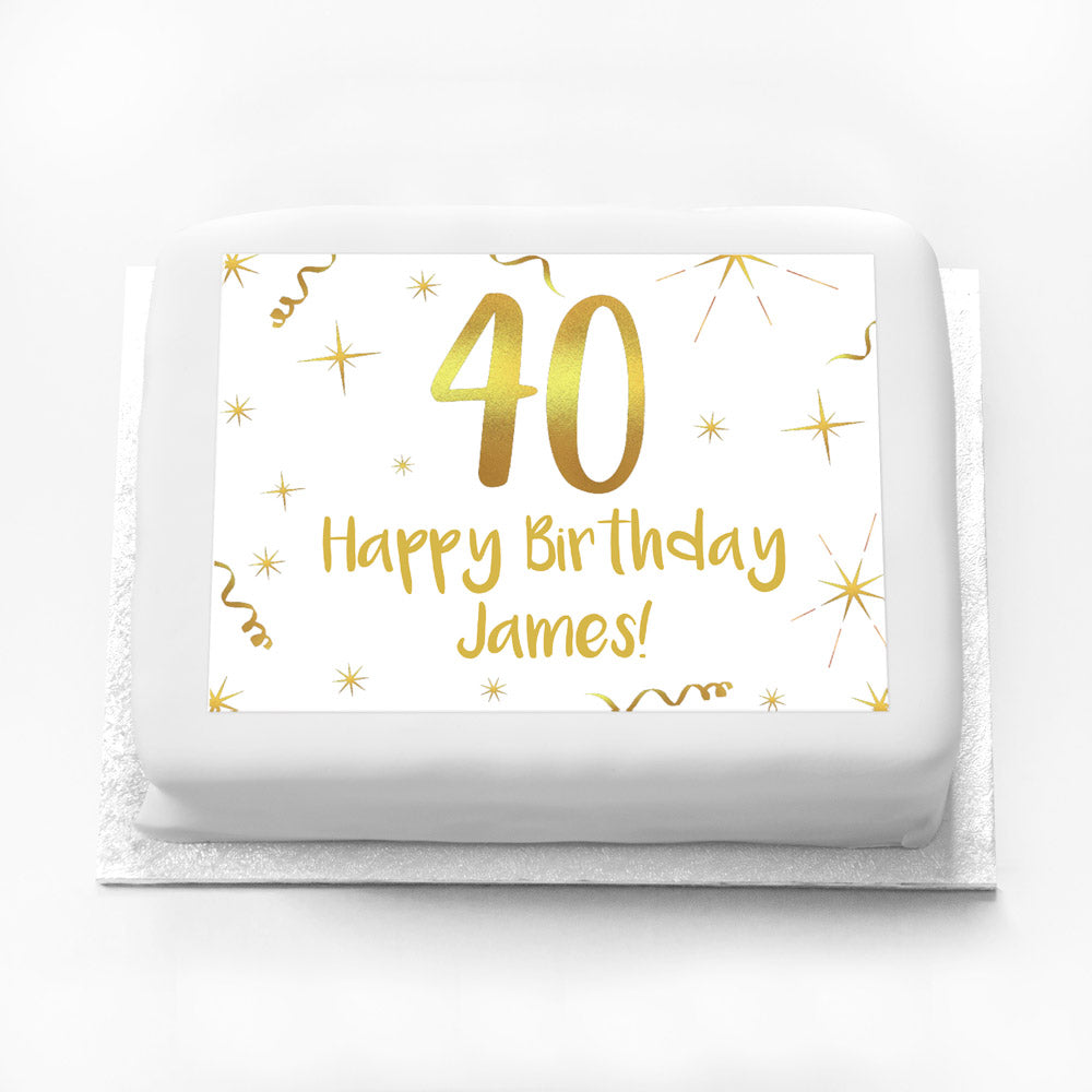 Personalised Photo Cake - White & Gold 40th Birthday
