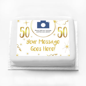 Personalised Photo Cake - White & Gold 50th Birthday