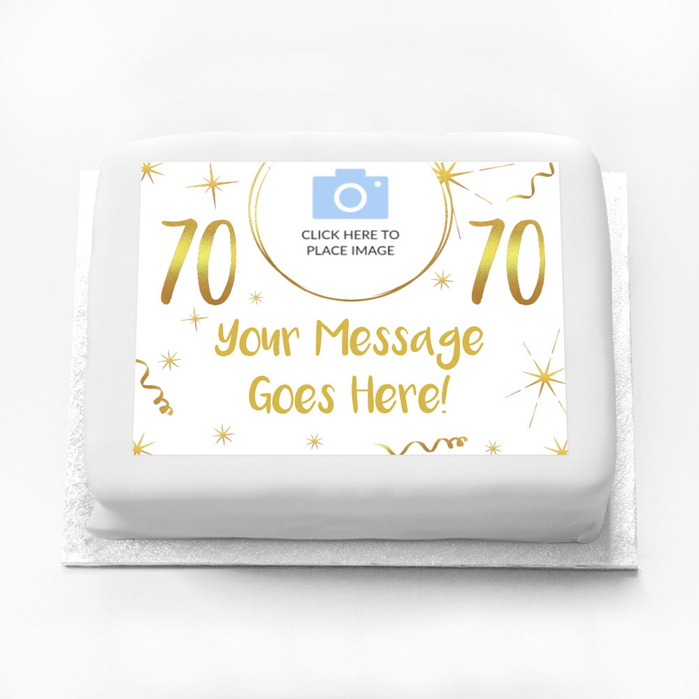 Personalised Photo Cake - White & Gold 70th Birthday