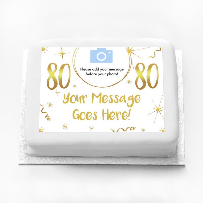Personalised Photo Cake - White & Gold 80th Birthday