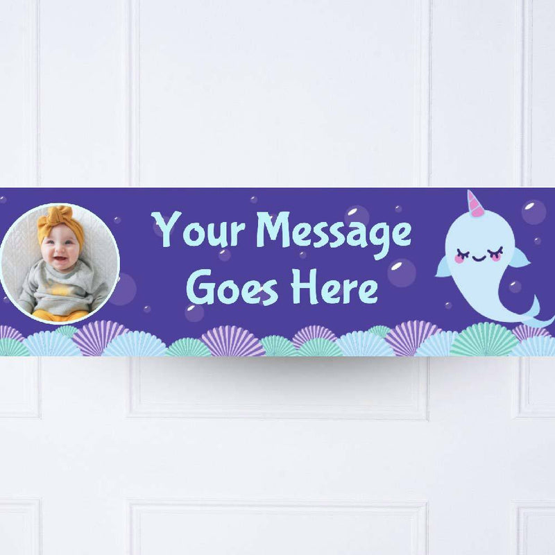 Narwhal 1st Birthday Personalised Party Banner