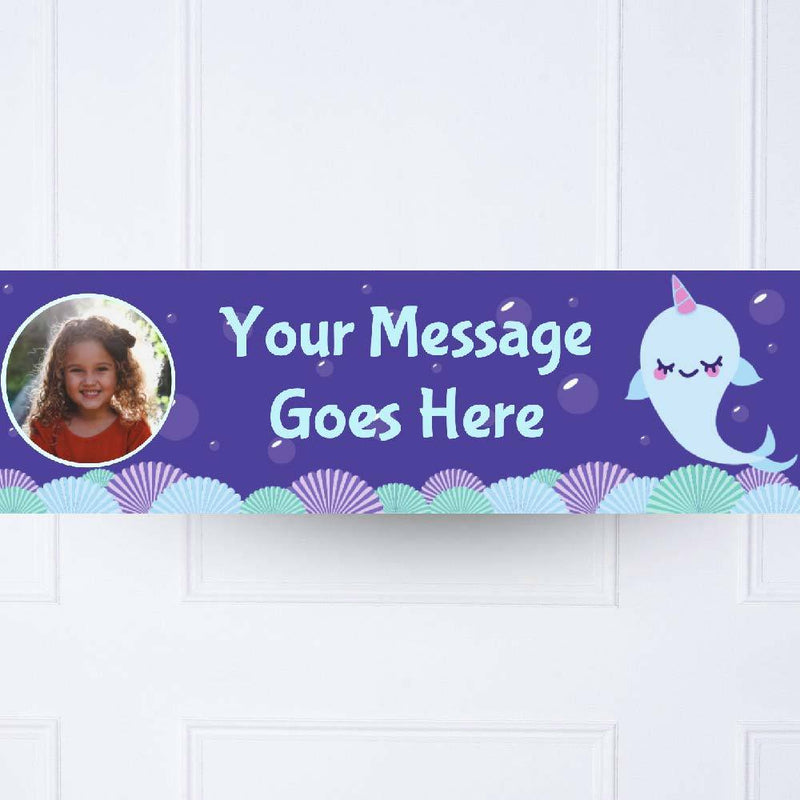 Narwhal Personalised Party Banner